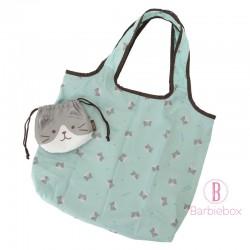 日本Fuku貓咪束帶保冷保暖環保袋(灰白貓咪)