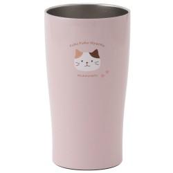日本Fuku貓咪真空雙重不銹鋼直立杯(啡白貓咪x粉紅)
