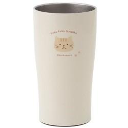 日本Fuku貓咪真空雙重不銹鋼直立杯(啡色茶茶x米白)