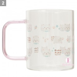 日本Fuku貓咪耐熱通透感手柄玻璃杯(滿滿白玉)