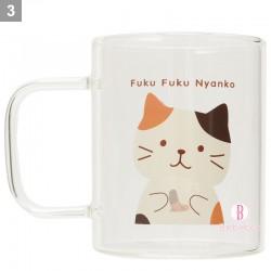 日本Fuku貓咪耐熱通透感手柄玻璃杯(前後啡白)