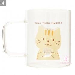 日本Fuku貓咪耐熱通透感手柄玻璃杯(前後茶茶)
