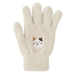 日本Fuku貓咪柔軟可愛刺繡手套(啡白貓咪X米色)