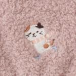 日本Fuku貓咪柔軟可愛刺繡手套(啡白貓咪頸巾X粉紅色)