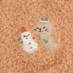 日本Fuku貓咪柔軟可愛刺繡手套(啡色茶茶雪人X橙色)