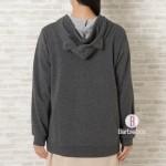 日本Fuku刺繡貓咪基本款連帽外套(灰白x炭灰色)