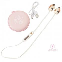 日本Fuku貓咪貓尾掛耳式無線藍牙耳機(啡白x粉紅)