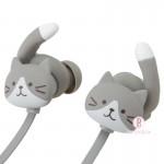 日本Fuku貓咪貓尾掛耳式無線藍牙耳機(灰白x粉紫)