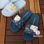 日本Fuku貓咪柔軟家居涼鞋(藍色星星x茶茶)