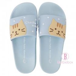 日本Fuku貓咪柔軟家居涼鞋(藍色星星x荼荼)