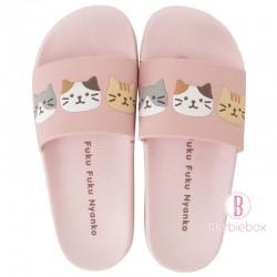 日本Fuku貓咪柔軟家居涼鞋(粉紅x fuku貓咪)