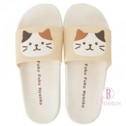 日本Fuku貓咪柔軟家居涼鞋(米白x 啡白貓咪)