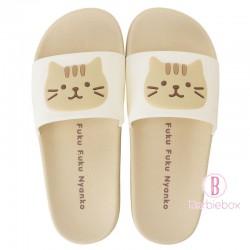 日本Fuku貓咪柔軟家居涼鞋(米色x 啡色茶茶)