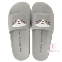 日本Fuku貓咪柔軟家居涼鞋(灰色x 灰白貓咪)