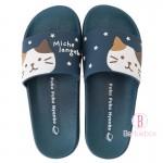日本Fuku貓咪柔軟家居涼鞋(深藍星星x 啡白貓咪)