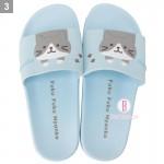 日本Fuku貓咪懸掛款柔軟家居涼鞋(灰白貓咪)
