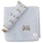 日本Fuku貓咪香氛手霜刺繡毛巾小屋套裝(灰白貓咪)