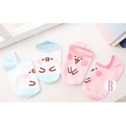[台灣製]P助兔兔矽膠防滑隱形船襪(一套兩對)
