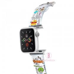 Disney Apple Watch透明PVC錶帶連保護殻(維尼家族蠟筆款)