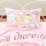 Sanrio單人床單枕袋連被袋套裝(柔色貓咪主題)