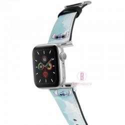 迪士尼 Apple Watch十字紋牛皮錶帶(油畫史迪仔)