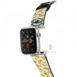 迪士尼 Apple Watch十字紋牛皮錶帶(香蕉史迪仔)