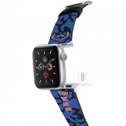 迪士尼 Apple Watch十字紋牛皮錶帶(藍黑史迪仔)