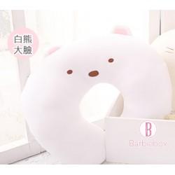 角落生物大臉系絨感可愛U型頸枕(白熊)