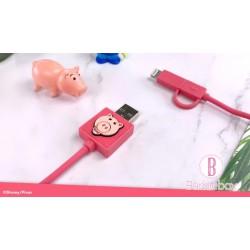 迪士尼反斗奇兵系列二合一 Lightning/Micro USB 快充傳輸線(火腿)