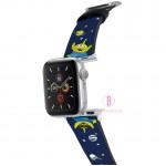 迪士尼 Apple Watch十字紋牛皮錶帶(星空三眼仔)